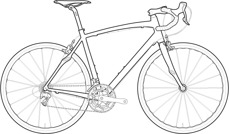 Bicycle Sketch Drawing Coloring Page